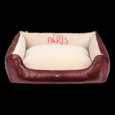 Paris puha bőr kutyaágy - vörös és bézs