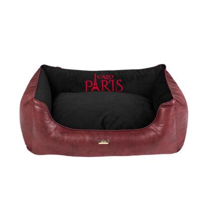 Paris puha bőr kutyaágy - vörös és fekete