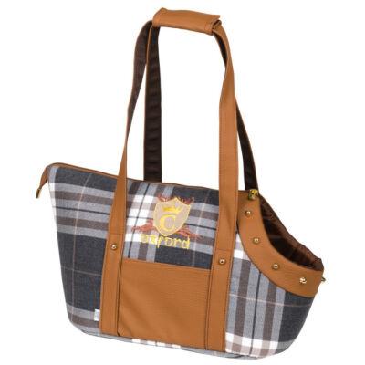 Oxford kutya hordozó táska - barna és kockás