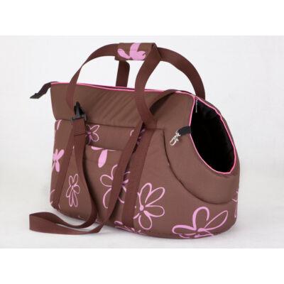 Kutya hordozó táska - barna, virágmintás