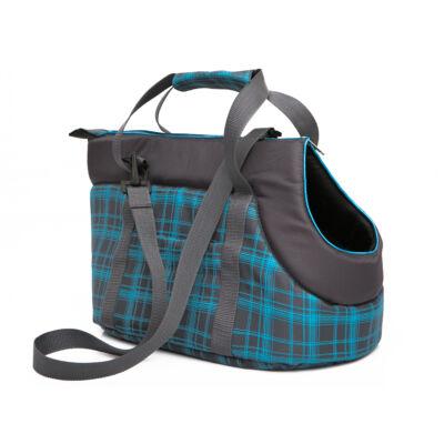 Kutya hordozó táska - grafitszürke, kék kockás