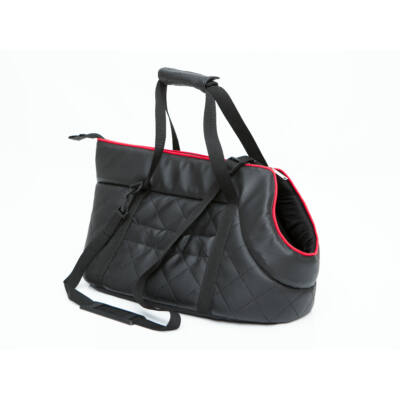 Bőr kutya hordozó táska - fekete