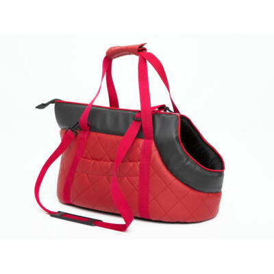 Bőr kutya hordozó táska - piros