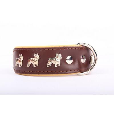 Francia Bulldog bőr nyakörv - Barna/Bézs