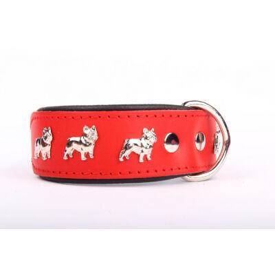 Francia Bulldog bőr nyakörv - Piros/Fekete