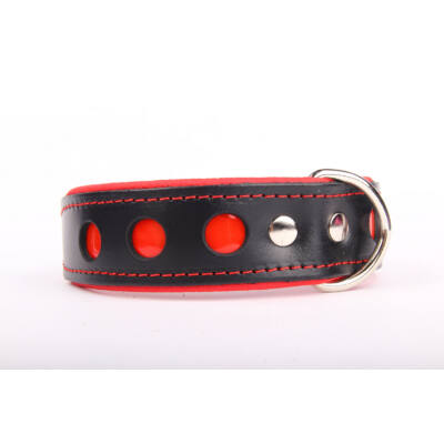 NEO fényvisszaverő bőr nyakörv - Piros
