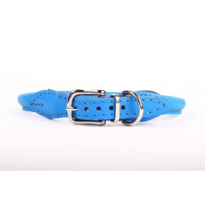Kerek (csatos) bőr nyakörv - Kék