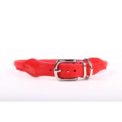 Kerek (csatos) bőr nyakörv - Piros